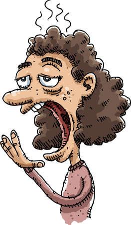 yawn: A sleepy, cartoon woman has a big yawn.