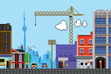 building cn tower: Retro eight bit videogame view of the city of Toronto, Canada. Stock Photo