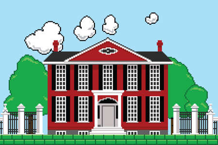 videogame: Retro eight bit videogame rendering of a mansion. Stock Photo