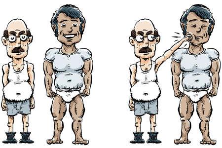 slip homme: Un homme de dessin anim� se faufile un coup de poing contre l'homme � c�t� de lui. Banque d'images