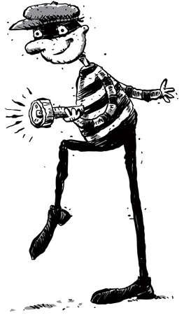 criminal: A cartoon criminal lurks with a flashlight. Stock Photo