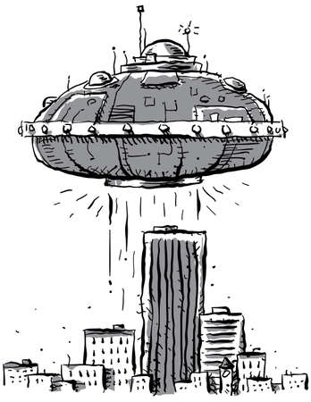 A UFO hovers above the downtown of a city. photo