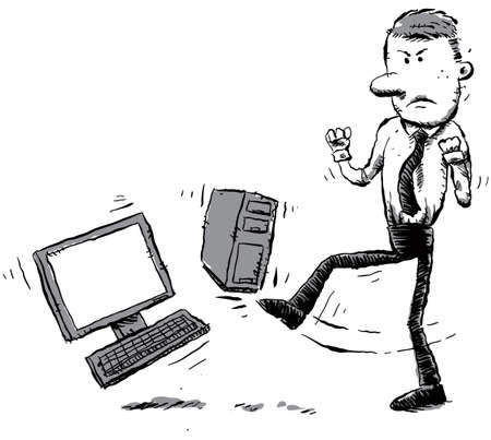 An office worker kicks his computer out of frustration. photo