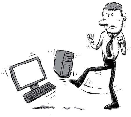 worker cartoon: Un empleado de oficina se inicia el ordenador de la frustración.