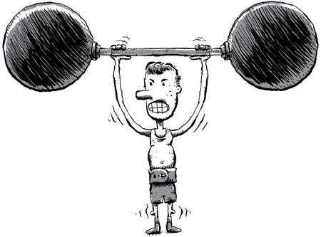 A skinny cartoon man lifts some heavy weights.