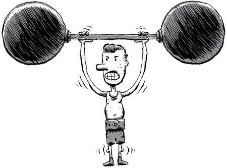 hombre flaco: Un hombre delgado de dibujos animados levanta algunos pesos pesados.