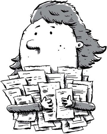 clutches: A cartoon woman clutches a large pile of paperwork. Stock Photo
