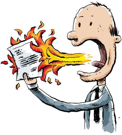 A cartoon businessman burns a document with fire breath. Stok Fotoğraf - 11698790