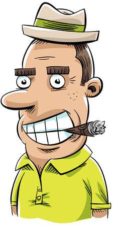 A retro, cartoon man chomping on a cigar.