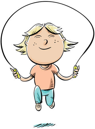 A happy, cartoon girl jumps rope.