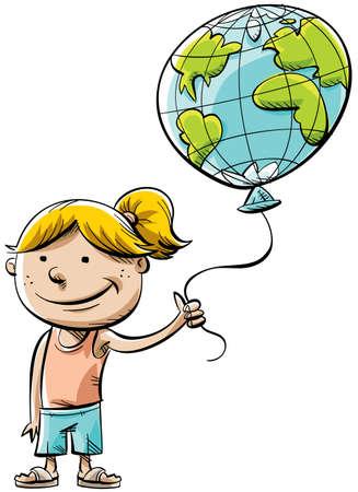 A cartoon little girl holding a balloon of the little world. photo