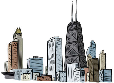city building: Cartoon section of a portion of the skyline of Chicago, USA. Stock Photo