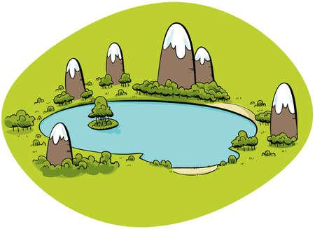 Un lago de dibujos animados rodeada de pequeñas montañas. Foto de archivo - 11698798