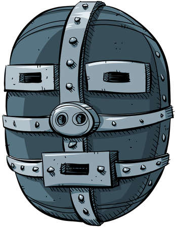chipped: A cartoon of a crude, worn metal mask.