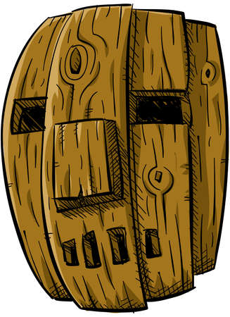 A cartoon of a crude, worn wooden mask.