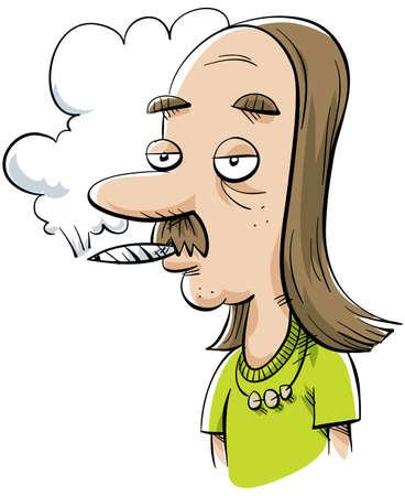 Een cartoon pothead man roken van een joint. Stockfoto