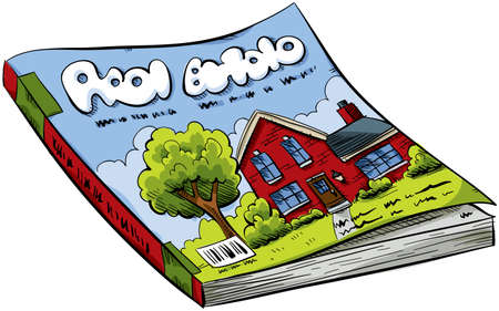 magazine: A cartoon real estate magazine with house on the cover.