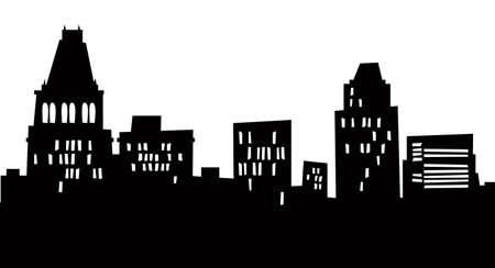漫画のグリーンズボロ、ノースカロライナ州、アメリカ合衆国の都市のスカイライン シルエット。