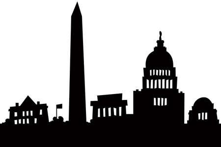 漫画のワシントン、DC、アメリカ合衆国の都市のスカイライン シルエット。