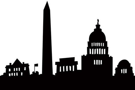 the obelisk: Cartoon skyline silhouette of the city of Washington, DC, USA.