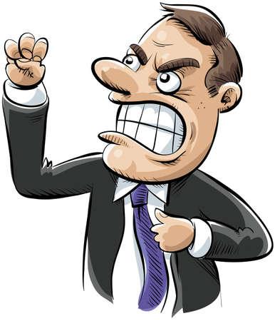 persona enojada: Un hombre de negocios enojado sacude el puño de la frustración.