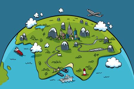 Een cartoon stad op een continent op een planeet. Stockfoto