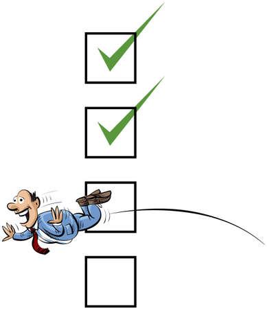 ceo: A cartoon businessman jumps through a checkbox.