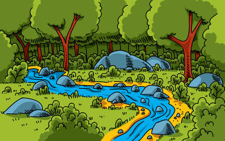 A cartoon stream running through a lush, green forest. photo