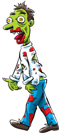 cartoon zombie: A cartoon zombie, covered in blood, staggers in search of his next meal.