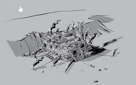 A sketch of a rugged outpost on a distant planet.