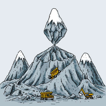 dumptruck: A cartoon mountain is mined from the middle, creating an unstable situation.