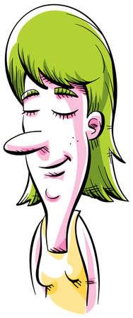 目を閉じて瞑想漫画女性。