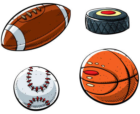 pigskin: Cartoon sports set with football, hockey puck, baseball and basketball.