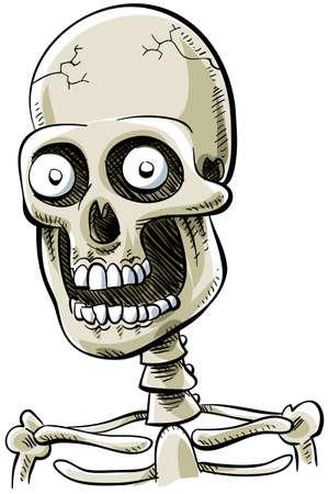 happily: A happy, cartoon skull smiles happily. Stock Photo