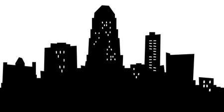 漫画シュリーブ ポート、ルイジアナ州、アメリカ合衆国の都市のスカイライン シルエット。