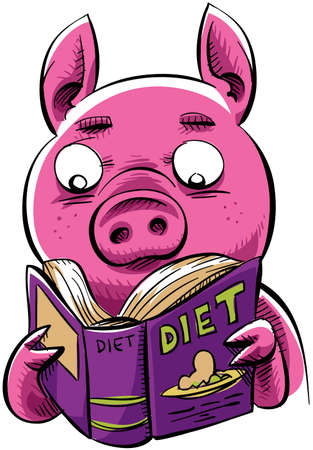 A cartoon pig reads a diet book. photo