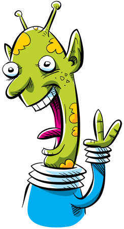 A friendly cartoon alien waves hellow with a smile. photo