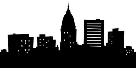 Cartoon skyline silhouette of the city of Topeka, Kansas, USA.  photo