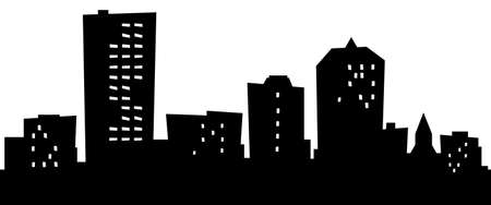Cartoon skyline silhouette of the city of Manchester, New Hampshire, USA.