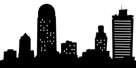 漫画ウィンストンセーラム、ノースカロライナ州、アメリカ合衆国の都市のスカイライン シルエット。