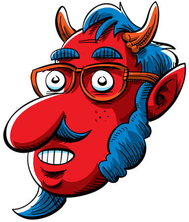 sideburns: A nerdy devil with sideburns and glasses. Stock Photo