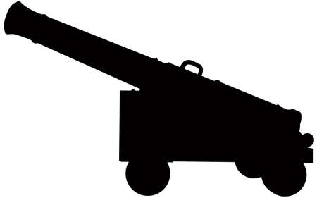 A silhouette of an old cannon.