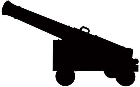 Een silhouet van een oud kanon.