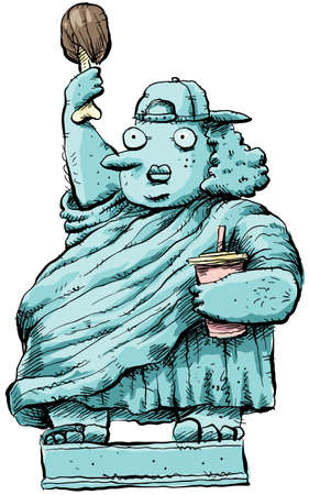 A cartoon woman posing as an obese Statue of Liberty. photo