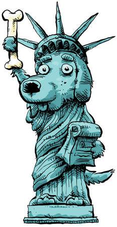 A cartoon dog posing as the Statue of Liberty. Stok Fotoğraf