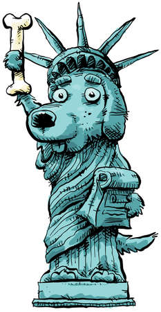 cartoon dog: A cartoon dog posing as the Statue of Liberty. Stock Photo