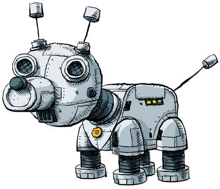 A cute, metallic cartoon robot dog.
