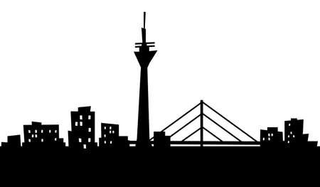 漫画のデュッセルドルフ、ドイツの都市のスカイライン シルエット。 写真素材