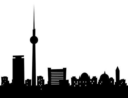 Cartoon skyline silhouette of the city of Berlin, Germany.  photo