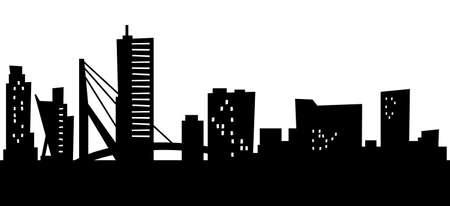 Cartoon skyline silhouette of the city of Rotterdam, Netherlands.